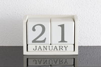 White block calendar present date 21 and month January
