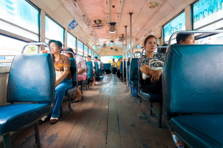 Thailand Interior Bus Passengers Wooden Floor