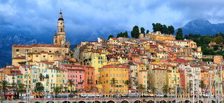 Panoramic view of the old town of Menton, Provence, France