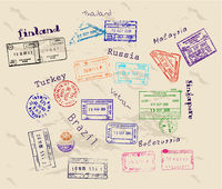 Real visa stamps from 9 countries.