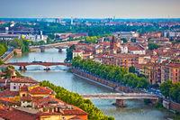 Verona bridges and Adige river view