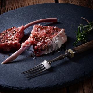 Raw cut rack of lamb