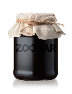 Jar of homemade blackberry jam
