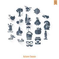 Set of Flat Autumn Icons