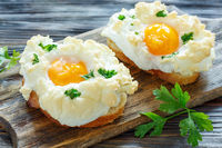 Bread with baked eggs Orsini.