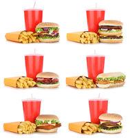 Hamburger Sammlung Collage Cheeseburger Menu Menü Menue Pommes Frites Getränk Freisteller freigestellt