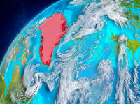 Space view of Greenland in red