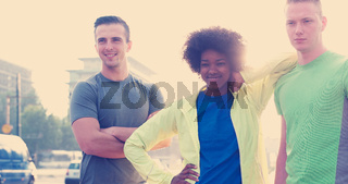 Portrait of multiethnic group of young people on the jogging