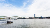 pier and view of Rhine river in Cologne city