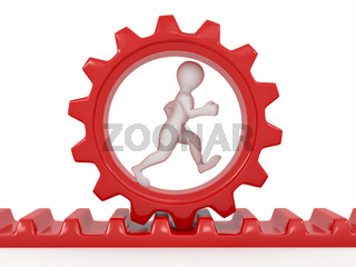 Men in gear on white isolated background