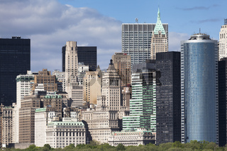 New York City Downtown Manhattan cityscape and architecture detail in NYC