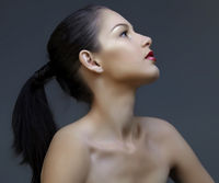 beautiful woman with ponytail