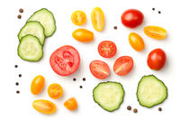 Tomatoes with Cucumber Isolated on White Background