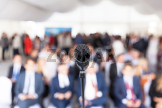Business presentation. Corporate conference. Microphone.