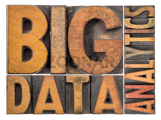 big data analytics word abstract in wood type