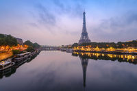 Paris city skyline with Eiffel Tower and Seine River when sunrise, Paris, France