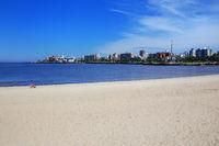 Sandy beach along the bank of the Rio de la Plata in Montevideo,