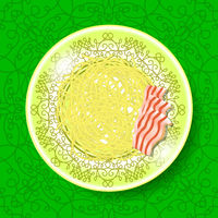 Boiled Floury Product Spaghetti on Green Ornamental Background