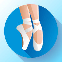 White ballet pointe shoes flat Vector illustration of gym ballet shoes standing on tiptoes