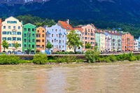 City of Innsbruck colorful Inn river waterfront panorama