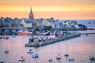 Sunset over the port of Roscoff, Brittany, France