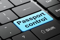 Tourism concept: Passport Control on computer keyboard background