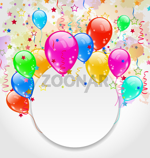 Modern birthday greeting card with set balloons