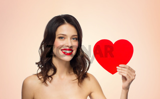 beautiful woman with red lipstick and heart shape