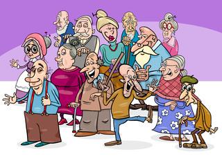 senior characters group cartoon illustration