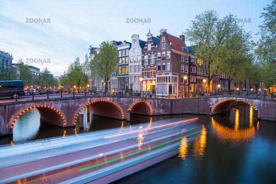 Canal Crossroads At Keizersgracht, Amsterdam, Netherlands.