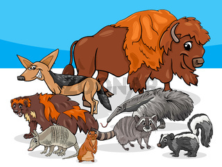 American animals group cartoon illustration