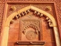 Detail of a wall in Jahangiri Mahal, Agra Fort, Uttar Pradesh, India