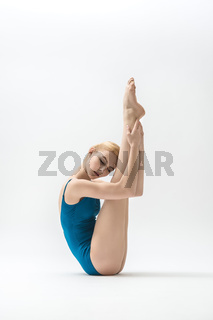 Blonde ballerina in studio