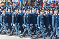Russian soldiers march at the parade on annual Victory Day, May, 9, 2017 in Samara, Russia.