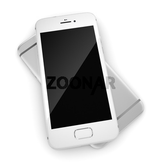 3D rendering silver smart phone with black screen