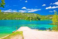 Visovac lake and island monastery in Krka river