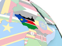 Flag of South Sudan on globe