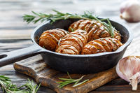 Potatoes baked with garlic and rosemary.