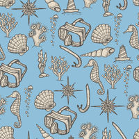 Diving hand drawing seamless pattern.