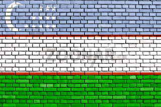flag of Uzbekistan painted on brick wall