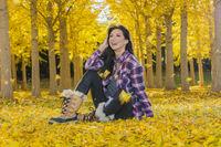 Beautiful Korean Brunette Model Posing In A Field Of Yellow Leaves