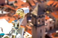 Security camera in historic town center of Omis