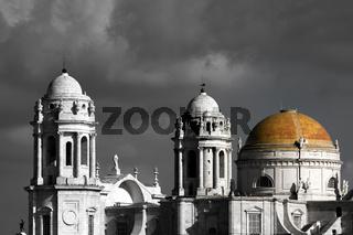Die Cadiz Kathedrale. koloriert. Andalusien