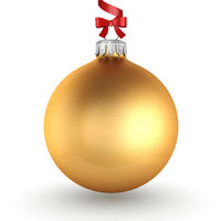 3D rendering golden Christmas ball with red ribbon and bow