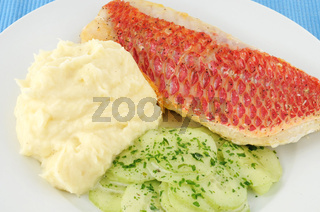 Red Snapper-Filet mit Beilagen