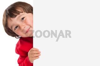 Kind kleiner Junge Werbung Marketing Schild leer Textfreiraum Copyspace Freisteller