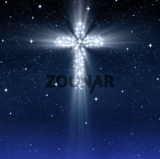 glowing religious cross in stars