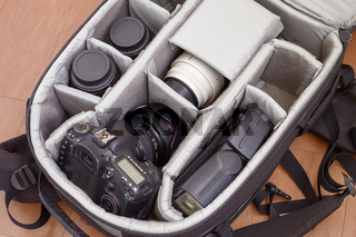 The Camera with Lenses and Flash in a Backpack