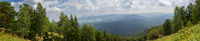 Panorama from the top of Mount Tserkovka in summer resort of Belokurikha in Altai Krai