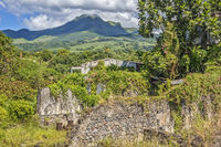 Volcano Pelee, Above, Old Town, Ruins, St Pierre, Martinique, West Indies